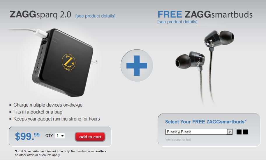 Limited Time Offer from ZAGG: Buy ZAGGsparq and Get ZAGGsmartbuds for Free