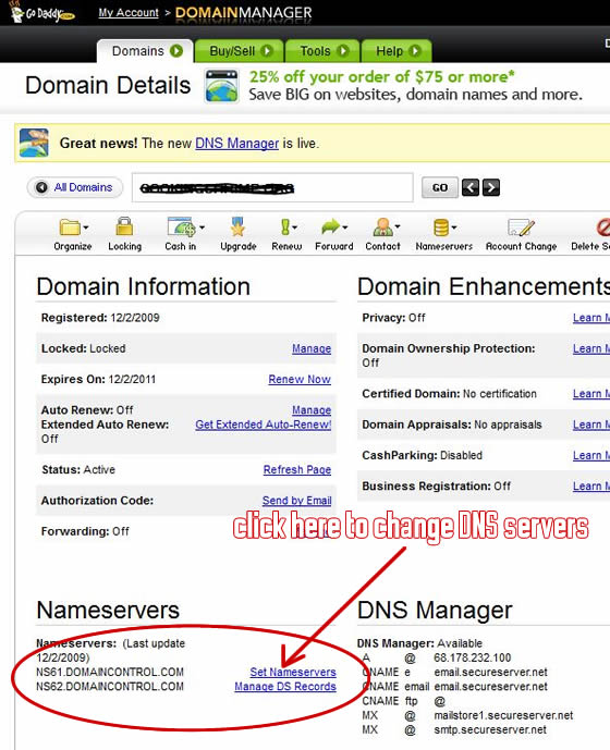 This is where you change the DNS servers from in GoDaddy